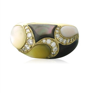 image of Kabana 14K Gold Mother Of Pearl Diamond Ring