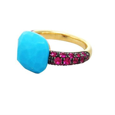 image of New Pomellato Capri 18k Gold Ruby Turquoise Ring