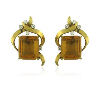 image of Vintage H. Stern 18K Yellow Gold Citrine Diamond Earrings