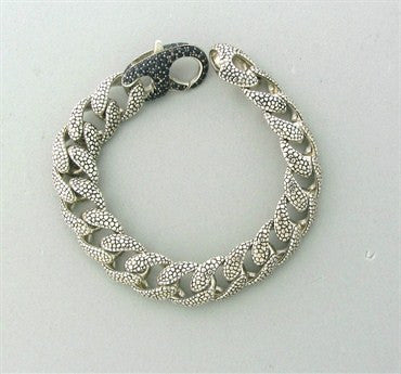 image of Stephen Webster Sterling Silver Black Sapphire Rayskin Link Bracelet