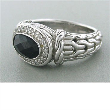 thumbnail image of John Hardy Sterling Silver Onyx Diamond Ring