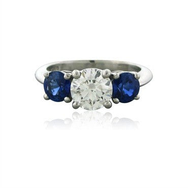 image of Tiffany & Co Platinum Diamond Sapphire Three Stone Engagement Ring