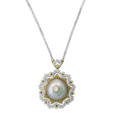 image of Buccellati 18K Yellow White Gold Diamond Pearl Pendant Necklace