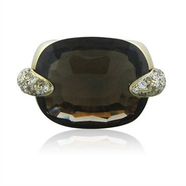 image of Pomellato Pin Up 18K Gold Diamond Smokey Quartz Diamond Ring