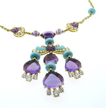 thumbnail image of Bulgari Mediterranean Eden Turquoise Amethyst Diamond Gold Necklace