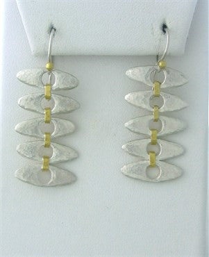thumbnail image of New Gurhan Linked Seed 24K Gold Sterling Silver Drop Earrings