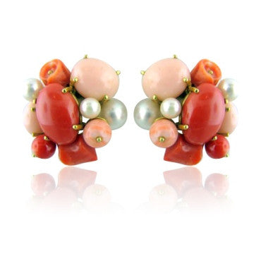 image of Estate Seaman Schepps 18k Gold Pearl Coral Earrings
