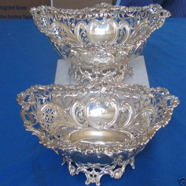 thumbnail image of Pair of Antique Howard & Co Sterling Reticulated Bowls