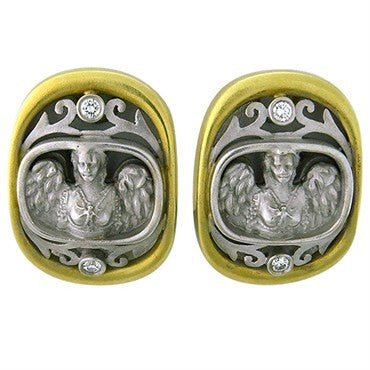 thumbnail image of Kieselstein Cord 18k Gold Diamond Angel In My Window Earrings