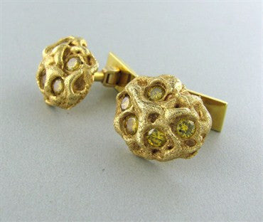 thumbnail image of Ruser 18K Gold 2.50ctw Fancy Yellow Diamond Cufflinks