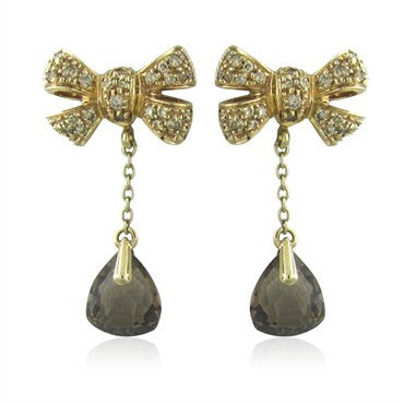 thumbnail image of Pomellato Forever 18K Gold Diamond Smokey Topaz Drop Earrings