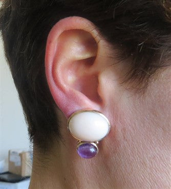 thumbnail image of 1980s Amethyst Coral 14k Gold Earrings