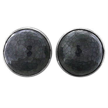 image of Gurhan Amulet Sterling Blackened Silver Hammered Round Earrings