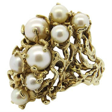 image of 1970s Naturalistic Pearl 18k Gold Cocktail Ring