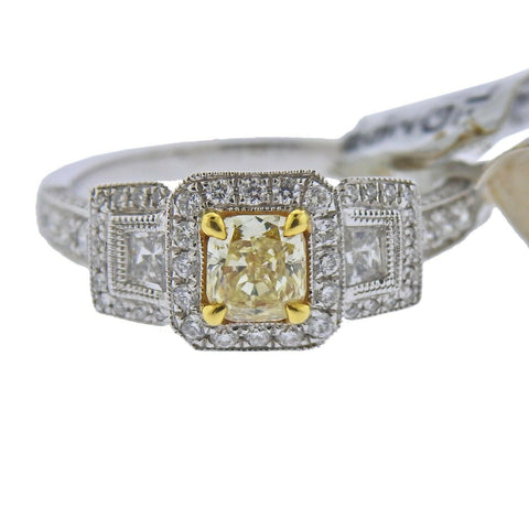 image of Dalumi Fancy Yellow White Diamond Gold Engagement Ring