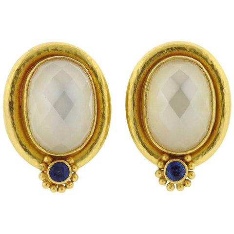 image of Elizabeth Locke Moonstone Sapphire Gold Earrings