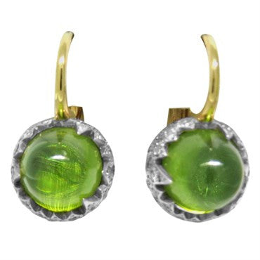image of New Pomellato Chimera 18k Gold Diamond Peridot Earrings
