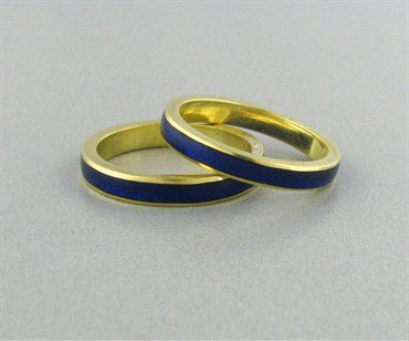 thumbnail image of Hidalgo 18K Gold Blue Enamel Band Ring Set