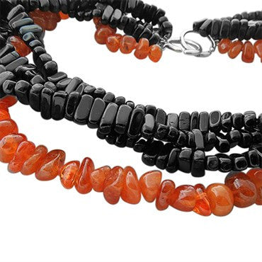 image of Tiffany & Co Picasso Sterling Silver Black Orange Gemstone Necklace