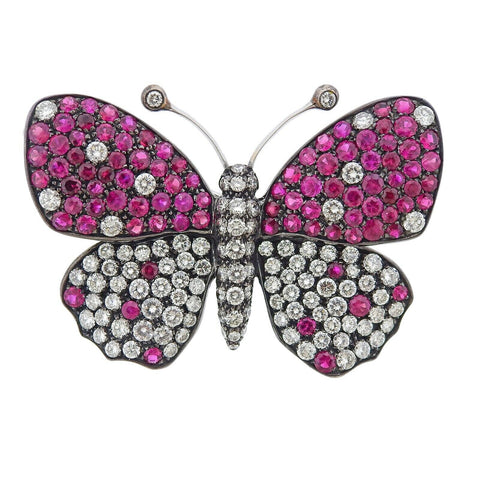 image of Italian Diamond Ruby Gold Butterfly Pendant Brooch