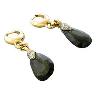 thumbnail image of Pomellato Pin Up Gold Diamond Smokey Quartz Drop Earrings