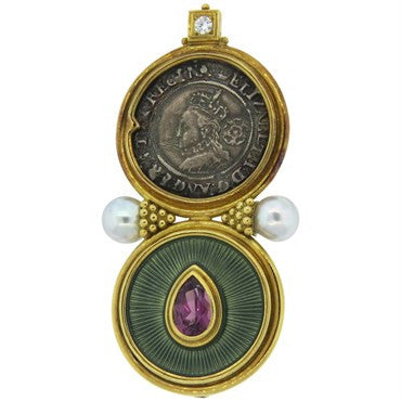 thumbnail image of Large Elizabeth Gage Coin Pearl Rhodolite Diamond Brooch