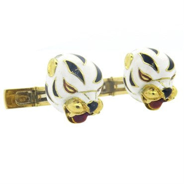 thumbnail image of Whimsical Mid Century Large Enamel Gold White Leopard Cufflinks