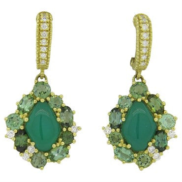 image of Judith Ripka 18K Gold Green Chalcedony Gemstone Diamond Drop Earrings