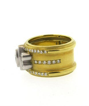 image of Unusual Modernist 1.00ctw Diamond 20k Gold Wide Band Ring
