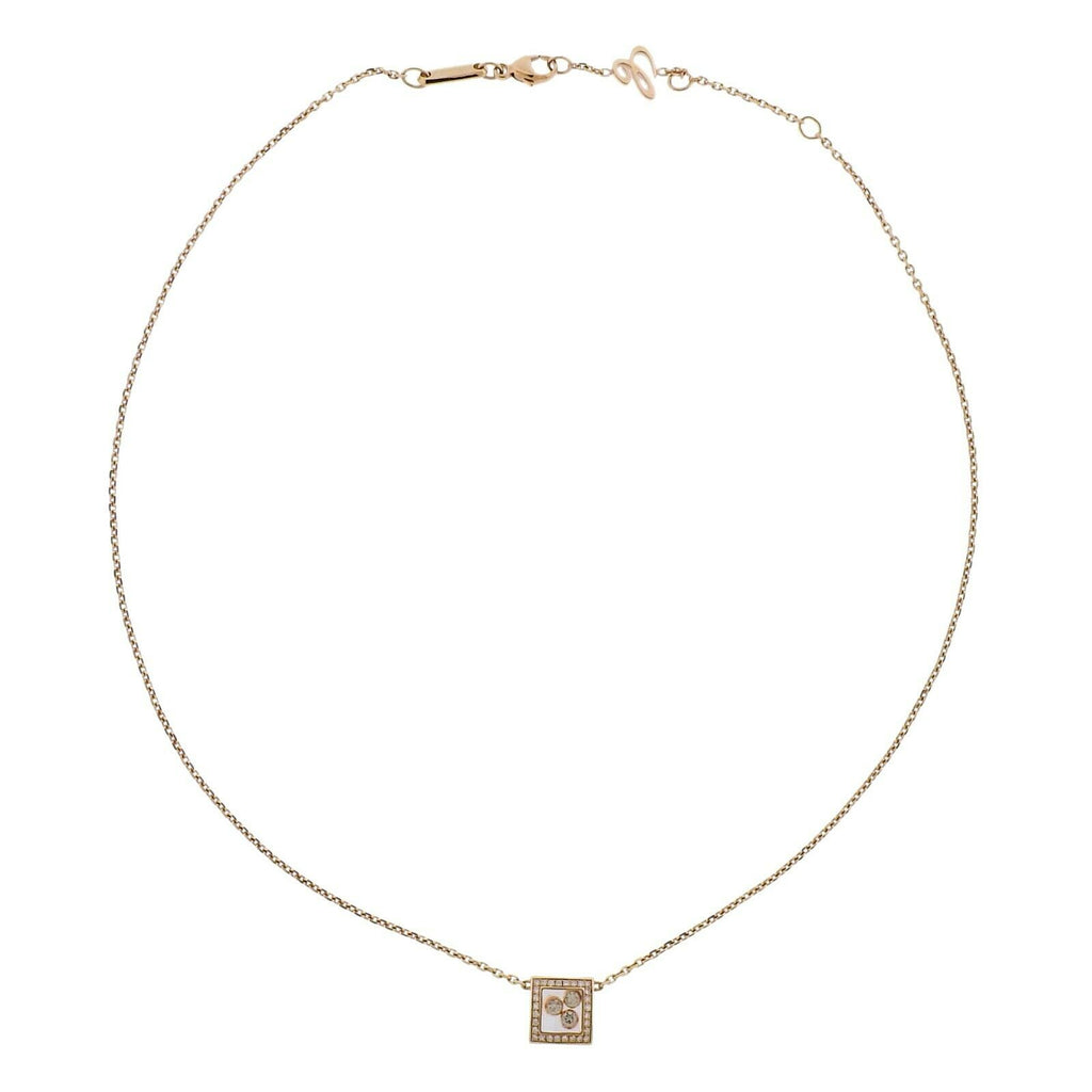 thumbnail image of Chopard Gold Happy Curves Square Diamond Pendant Necklace 819224-5002