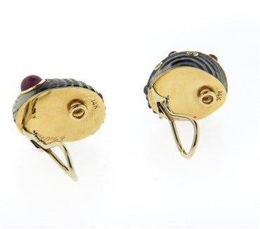 thumbnail image of Vintage Trianon 14k Gold Diamond Ruby Shell Earrings