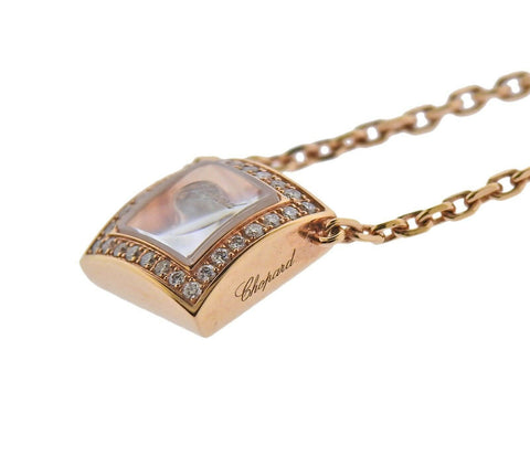 image of Chopard Gold Happy Curves Square Diamond Pendant Necklace 819224-5002