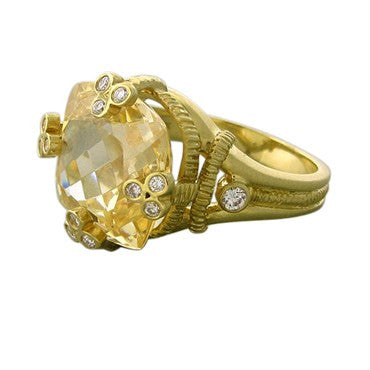 thumbnail image of Judith Ripka 18K Yellow Gold Canary Crystal Diamond Ring
