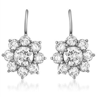 image of Harry Winston Platinum Diamond Sunflower Earrings