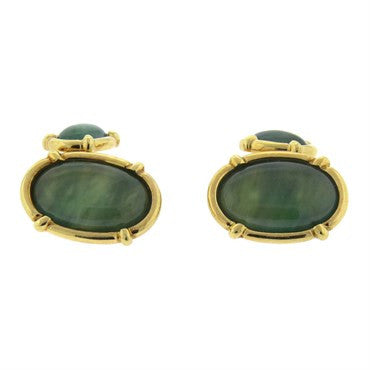 image of Oval Jade Gold Cufflinks