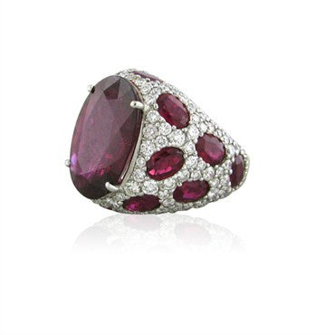 image of Asprey Jubilee 18K White Gold Rubellite Diamond Ring