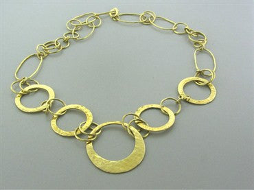 thumbnail image of Ippolita 18K Yellow Hammered Gold Link Necklace