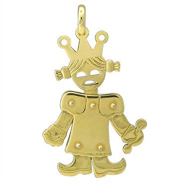 image of Large Pomellato Contemporary 18K Gold Princess Girl Movable Pendant
