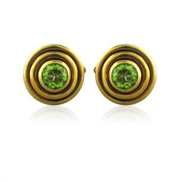 image of Estate Tiffany & Co 18K Gold Peridot Cufflinks