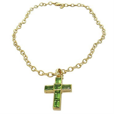 thumbnail image of New Victor Mayer Faberge Maker 18k Gold Diamond Peridot Cross Necklace