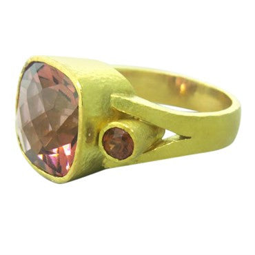 image of Elizabeth Locke Pink Tourmaline 18K Gold Ring