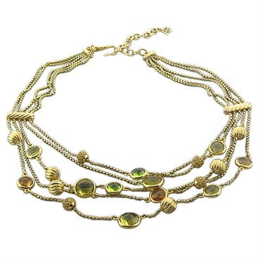 image of David Yurman 18K Yellow Gold Multi Strand Citrine Peridot Necklace