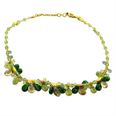 image of New Gurhan 24k Gold Confetti Olive Multi Gemstone Necklace