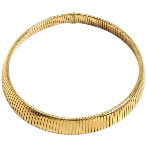 Classic Bulgari Tubogas Gold Steel Necklace