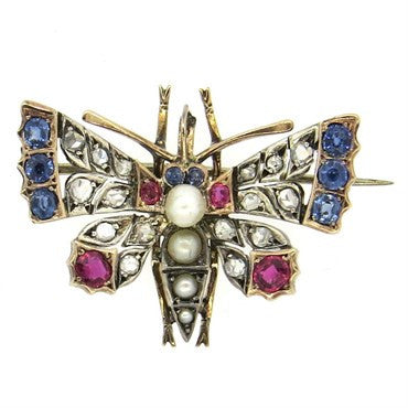 image of Antique Rose Cut Diamond Ruby Pearl Sapphire Gold Butterfly Brooch Pin