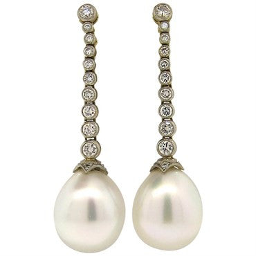 image of Gorgeous South Sea Pearl Diamond 18k Gold Drop Earrings