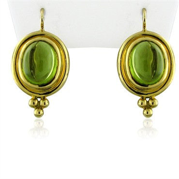 thumbnail image of New Temple St. Clair Classic 18K Gold Peridot Cabochon Earrings