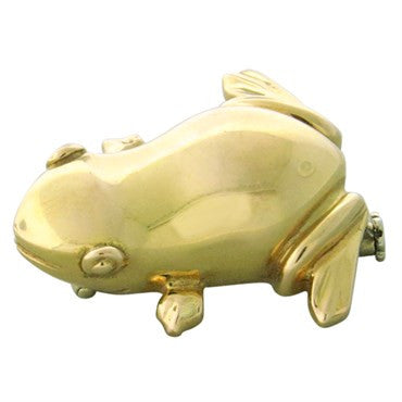 image of New Pomellato 18k Gold Frog Brooch Pin