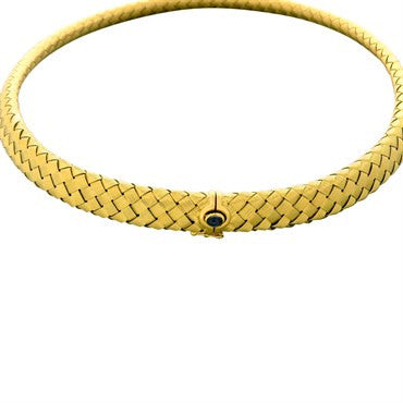image of Roberto Coin 18k Gold Sapphire Woven Necklace