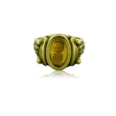 image of Estate Kieselstein Cord 18k Yellow Gold Carved Intaglio Ring